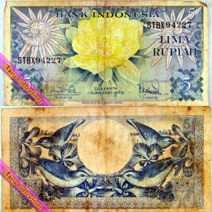 Uang Kertas Rp.5 Tahun 1959
